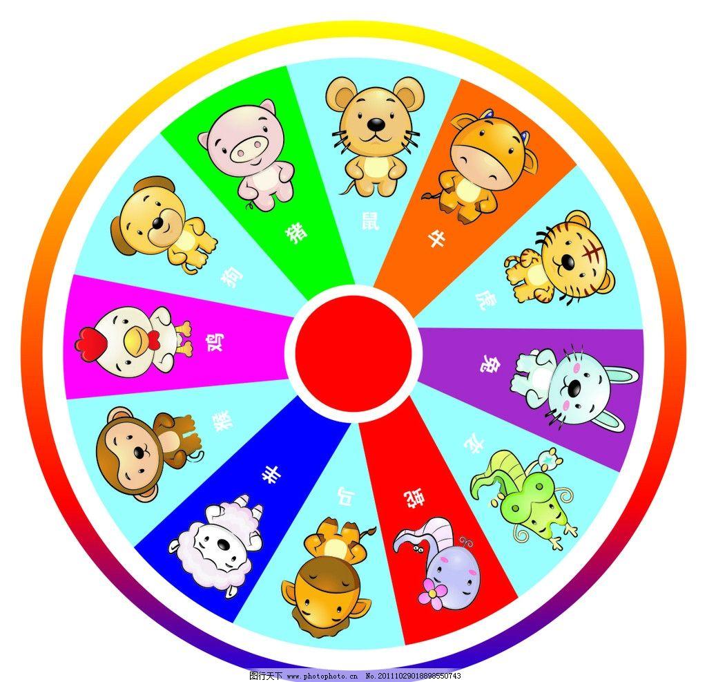 12生肖 可爱卡通12生肖矢量素材 卡通 可爱 生肖 圆盘 鼠 牛 虎 兔 龙