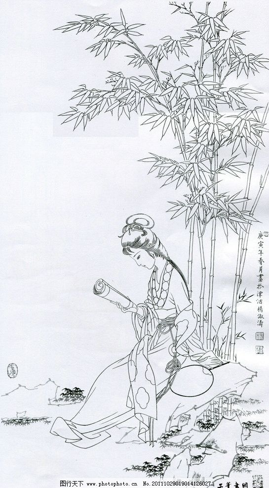 古代白描竹林图片
