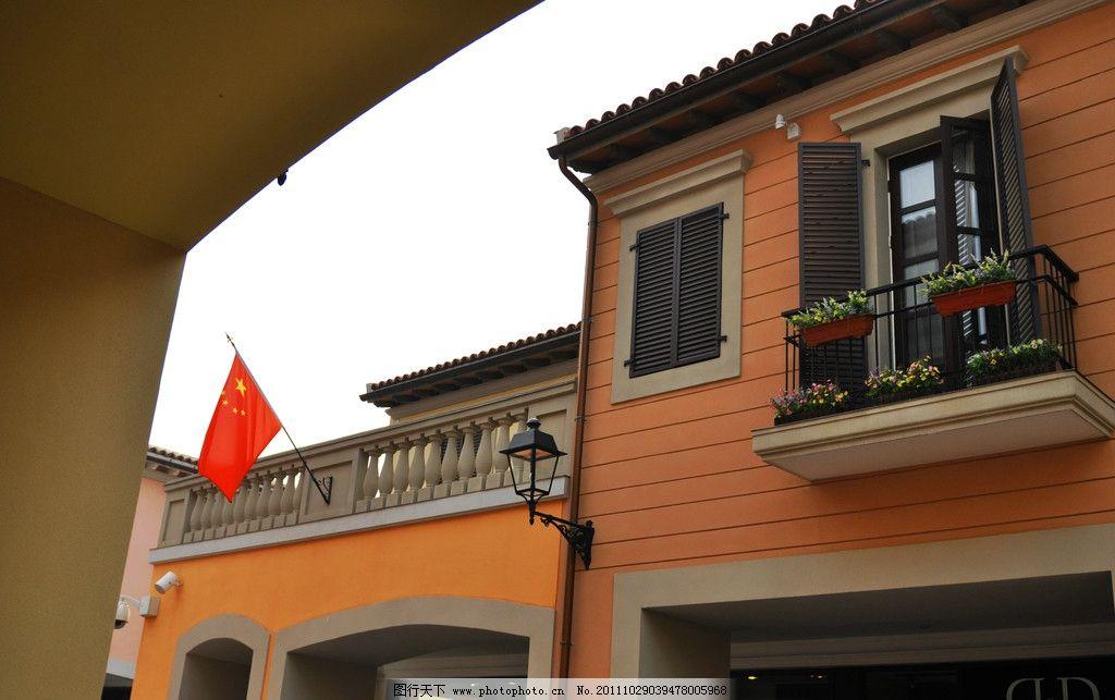 欧式建筑 西式 房顶 二层 别墅 洋楼 阳台 花台 日景 无人