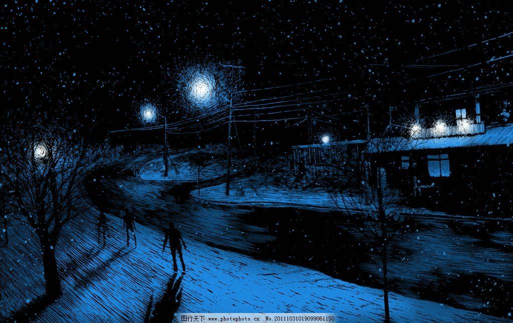 下雪的夜景 雪夜 夜景