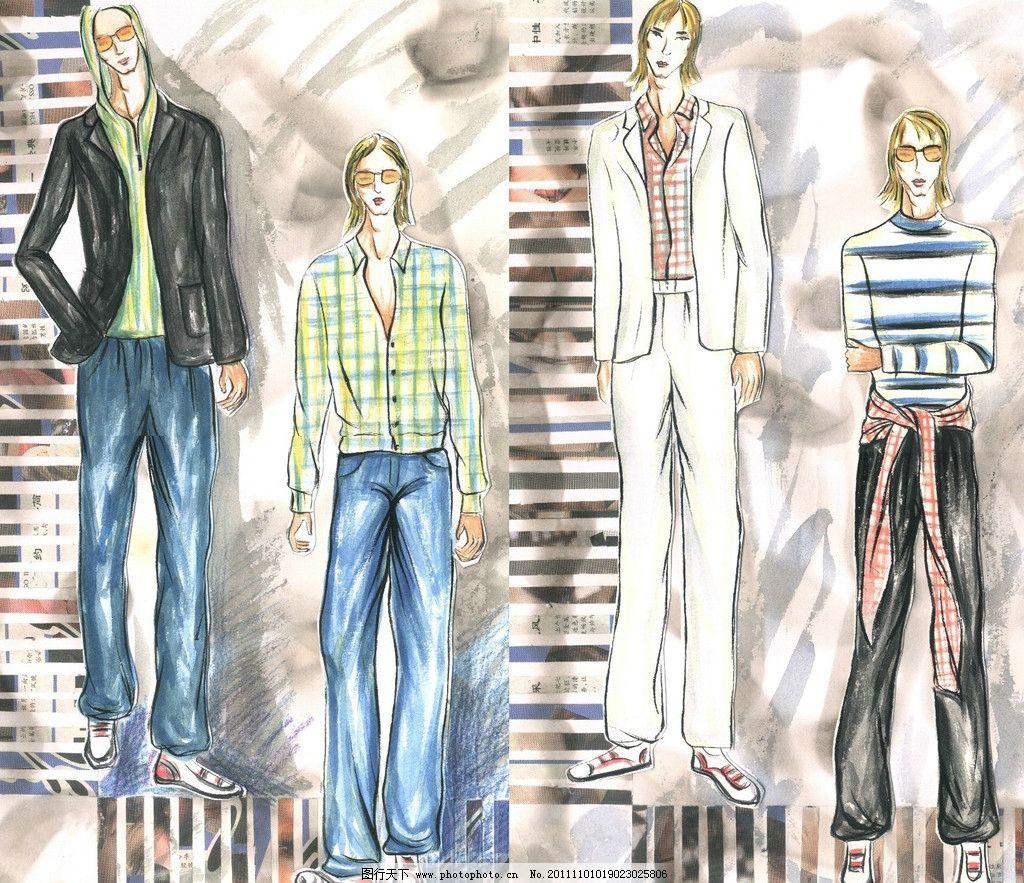 男士服装手绘 服装设计 服装效果图 时装画 时尚服饰设计