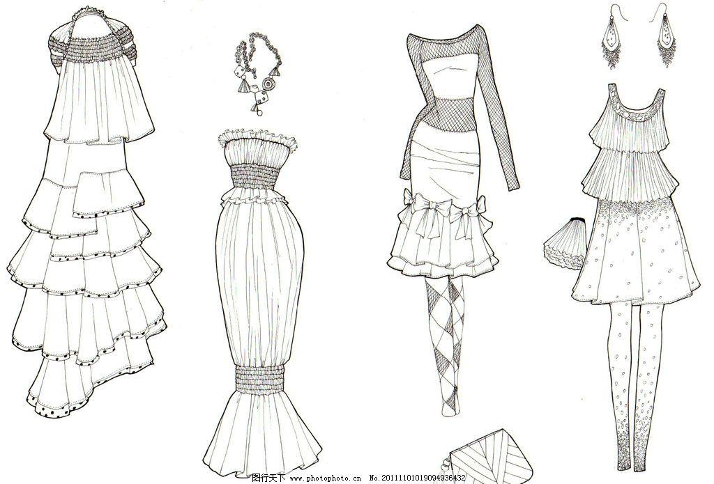 服装手绘线描 服装设计 服装 手绘 服装效果图 裙子 包 文化艺术 绘画