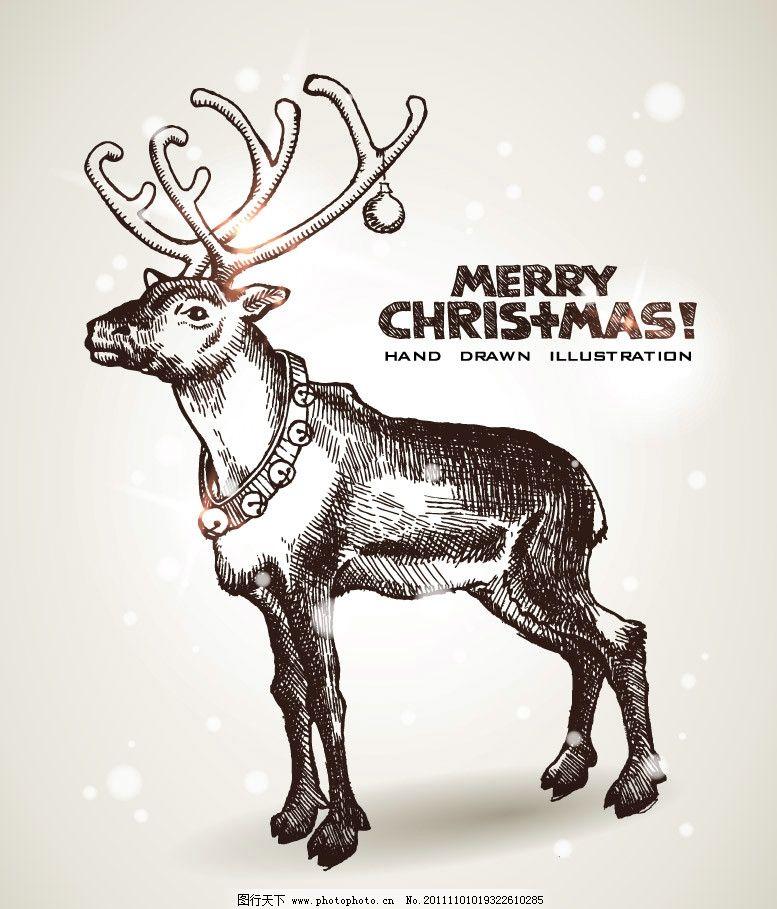 手绘圣诞梅花鹿图片