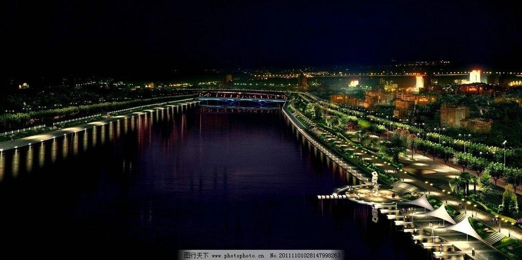 景观夜景效果图图片_景观设计_环境设计_图行天下图库
