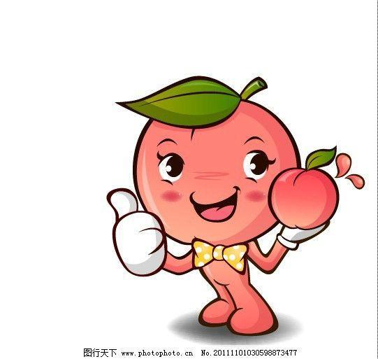 卡通桃子矢量图图片