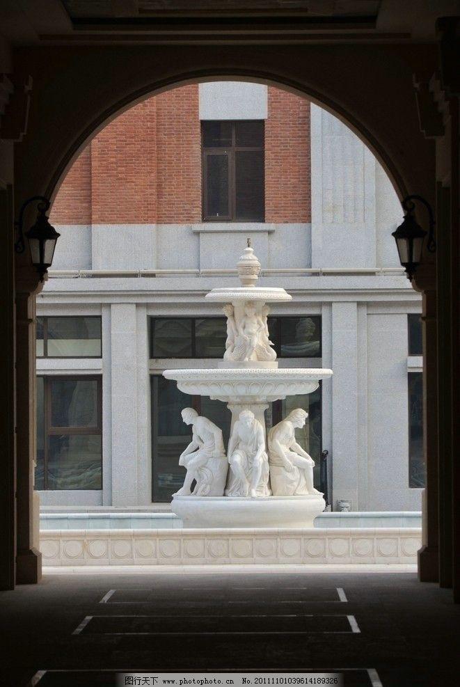 欧式喷泉雕塑 门洞 新建筑 仿欧式 房地产 开发 高档住宅 公寓