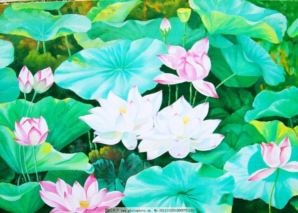 油画荷花 风景画 油画 艺术作品 荷花 荷塘 荷叶 绘画书法 文化艺术图片