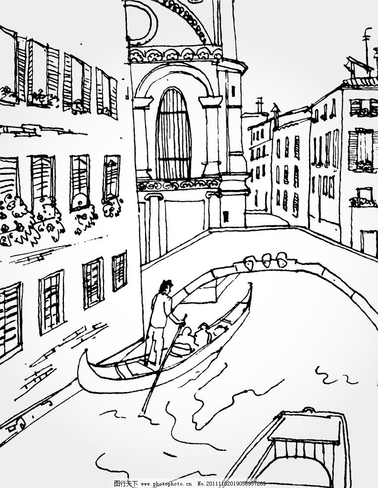 手绘房子 手绘 房子 街道 船 划船 绘画书法 文化艺术 设计 160dpi