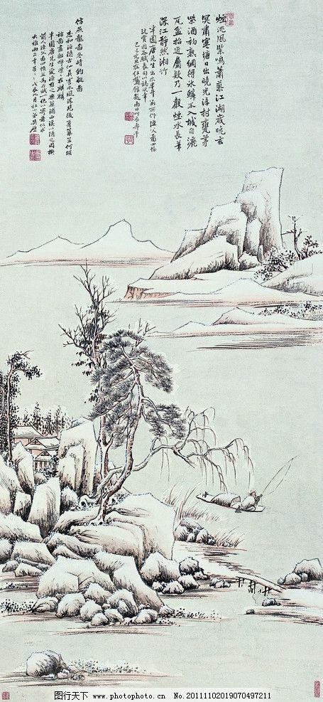 国画山水 国画 河水 小船 垂钓 松树 房子 高山 绘画书法 文化艺术
