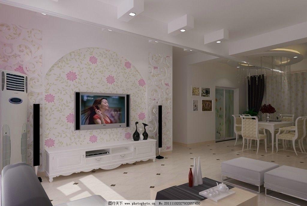 客餐廳效果圖 背景墻 雕花 餐廳 吊頂 電視 座椅 杯具 室內設計 環境
