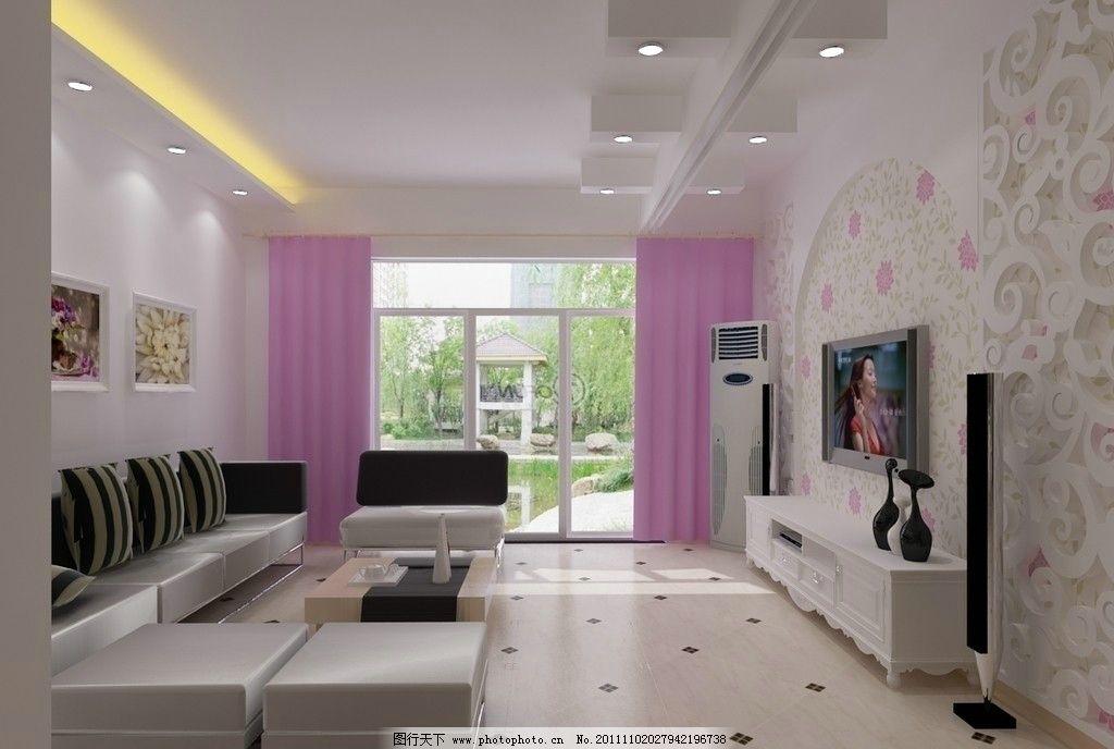客厅效果图 背景墙 雕花 吊顶 拼花地砖 沙发 靠枕 电视 杯具 室内