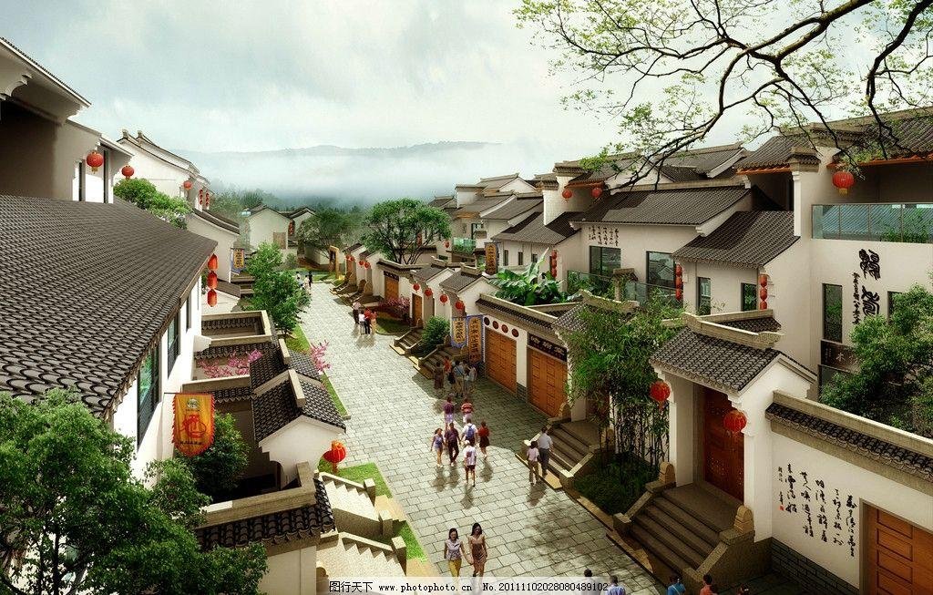 中式商业街图片_建筑设计_环境设计_图行天下图库图片