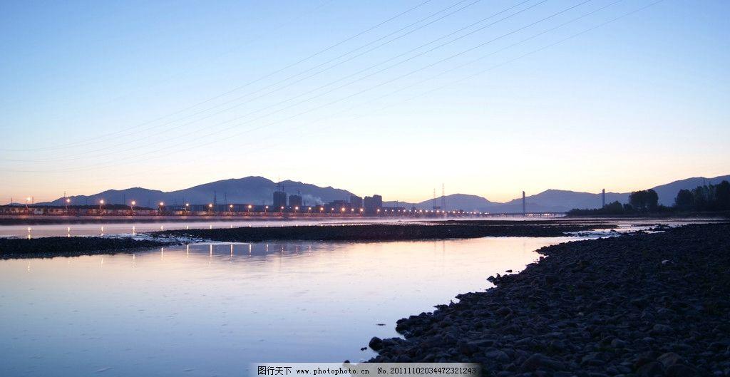 晨光江畔 朝阳 晨光 键江畔 江边 山水风景 自然景观 摄影 350dpi jpg