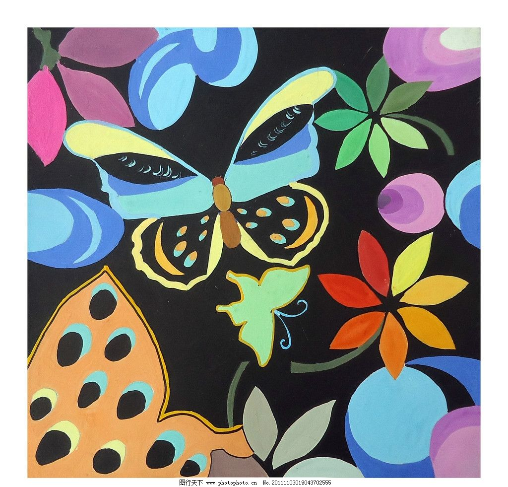 颜色 彩色 蝴蝶的变形 树叶 绘画书法 文化艺术 设计 300dpi jpg