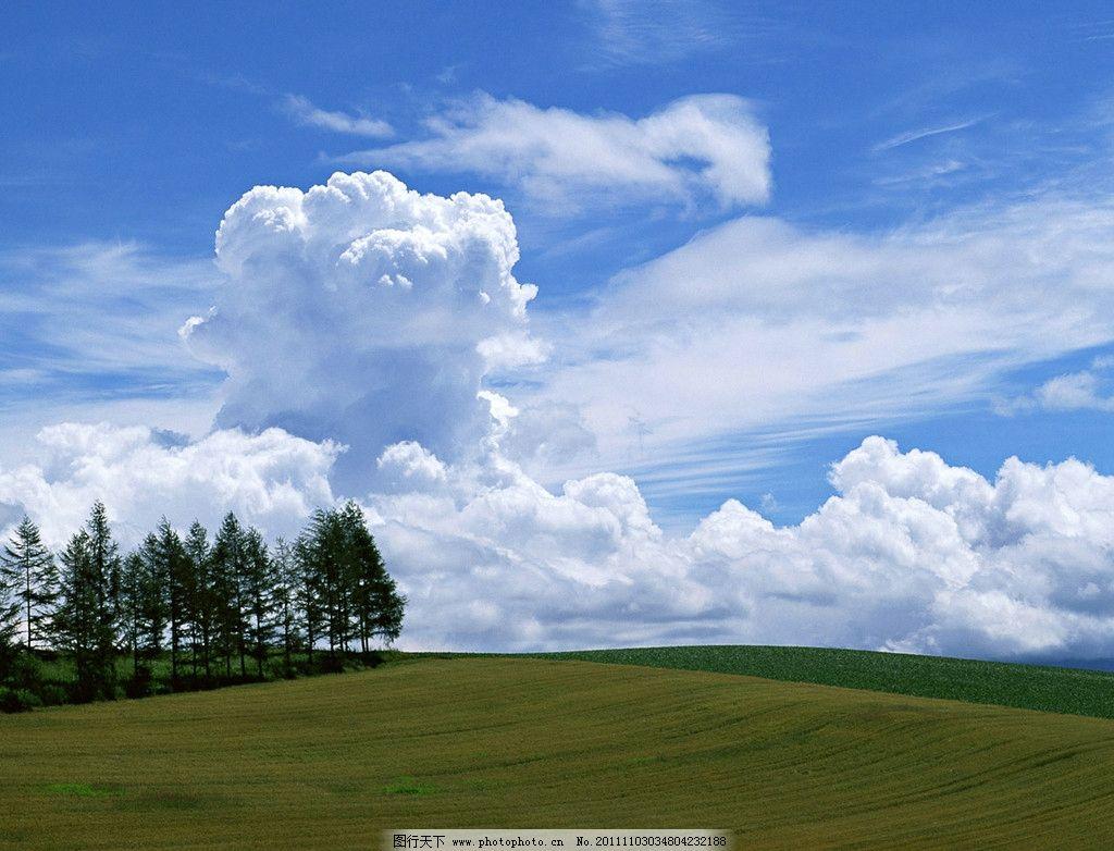 蓝天白云 蓝天 白云 绿树 草地 山坡 自然风景 自然景观 摄影 350dpi