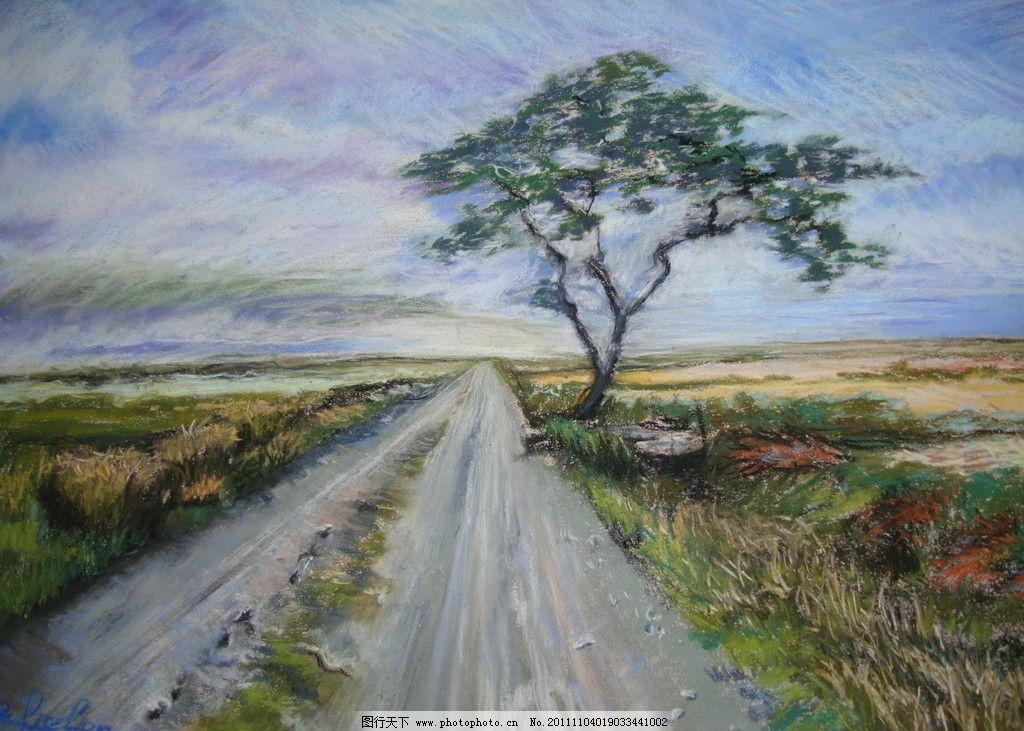 风景画 壁画 古典画 蓝天 白云 道路 小路 大路 杂草 大树 jpg 美术