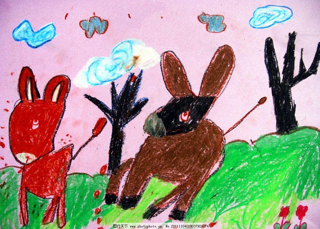 小毛驴 美术 绘画 儿童画 动物画 小驴子 草地 树木 云彩 儿童画作品
