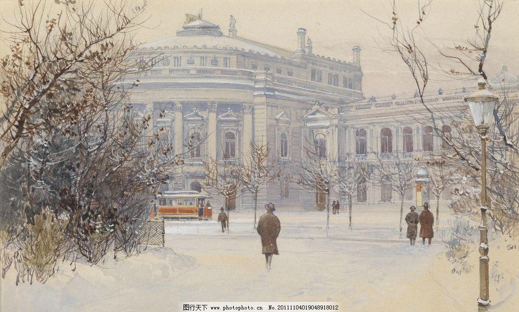 18至19世纪 路灯 公园 背影 手绘 俄罗斯 风景 漫画 建筑 欧洲 复古