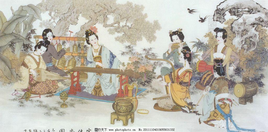 仕女图 乐器 花鸟 国画 工笔 仕女 素材 美女 古代 传统工笔 画 绘画