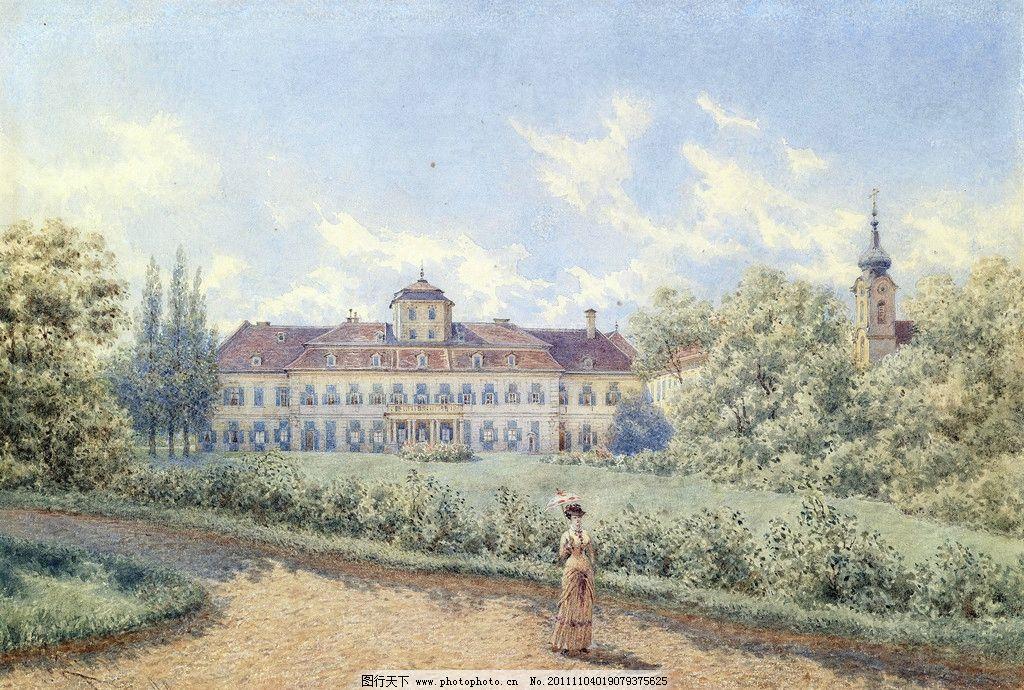水彩建筑插画 水彩 建筑 风景 插画 18至19世纪 欧式 庭院 屋顶 手绘
