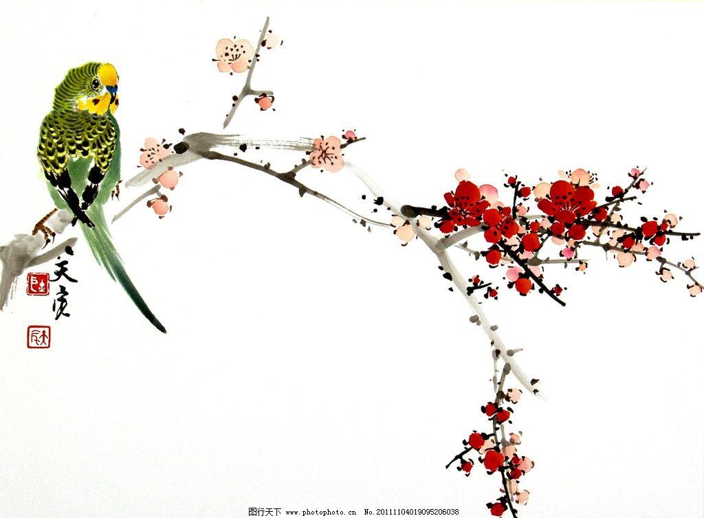 绿鹦鹉梅花 美术 绘画 中国画 水墨画 花鸟画 花木 国画艺术