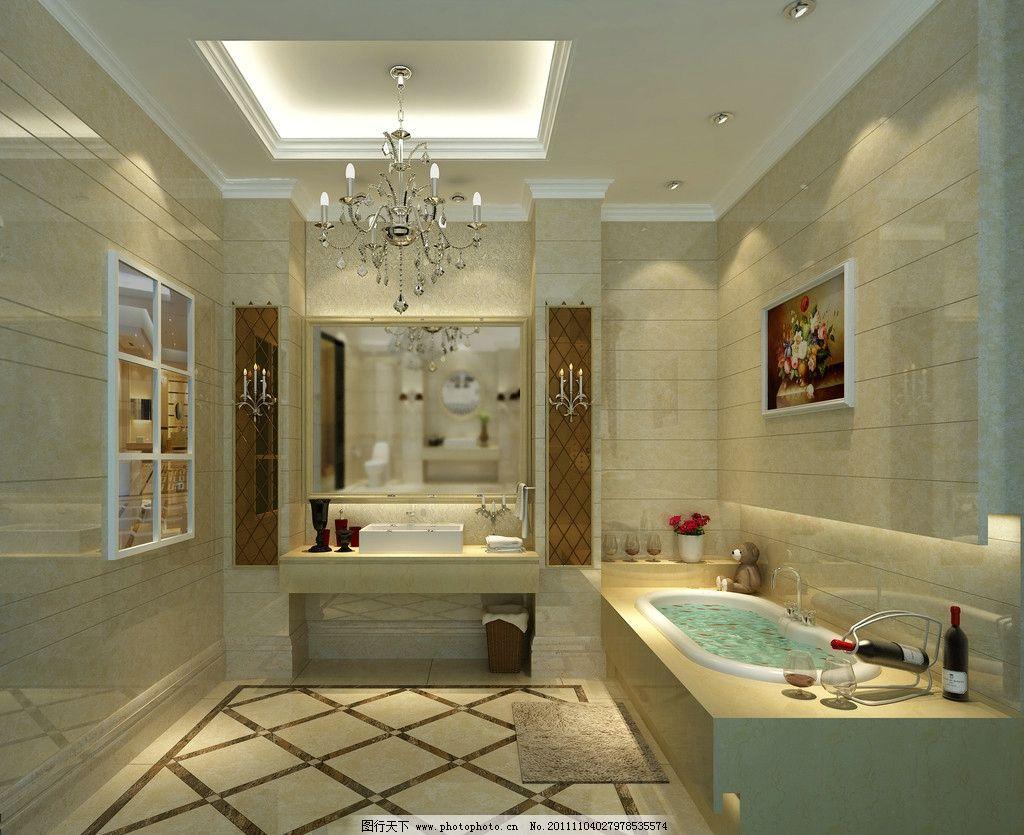 设计图库 环境设计 室内设计  浴室 瓷砖样板间 室内 样板间 简欧