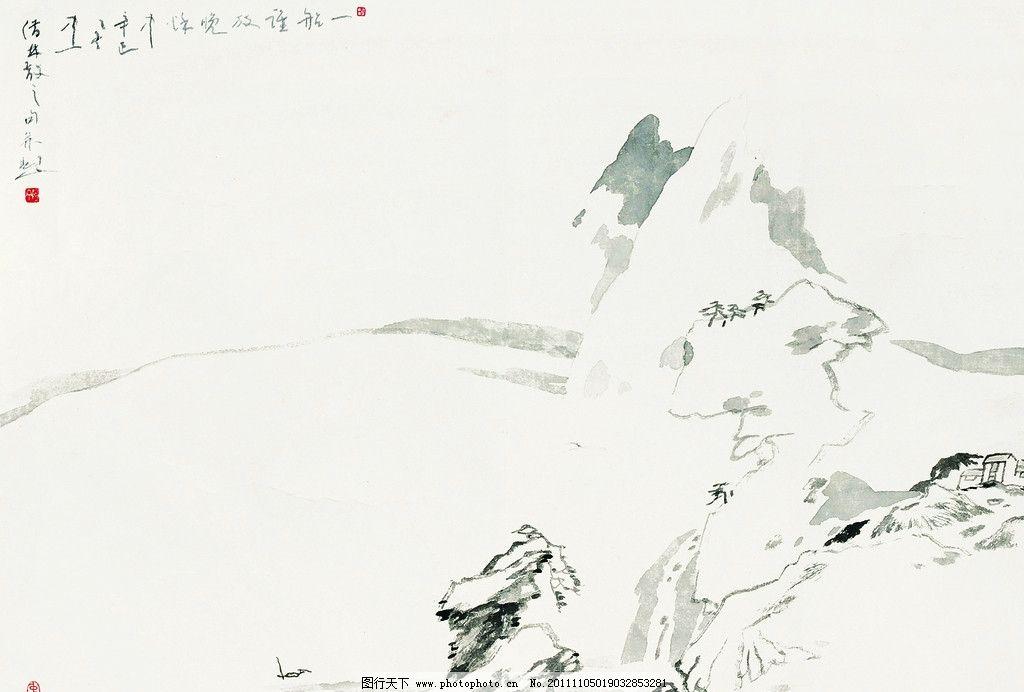 国画山水 线条勾勒的山轮廓 高山 石头 国画方屏 绘画书法 文化艺术-画图片