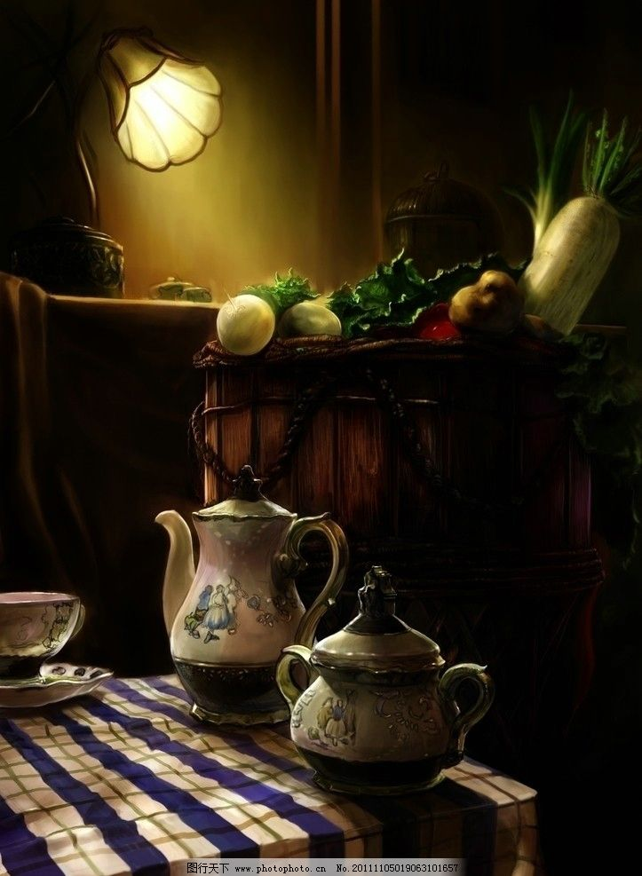 欧式 台灯 桌布 茶杯