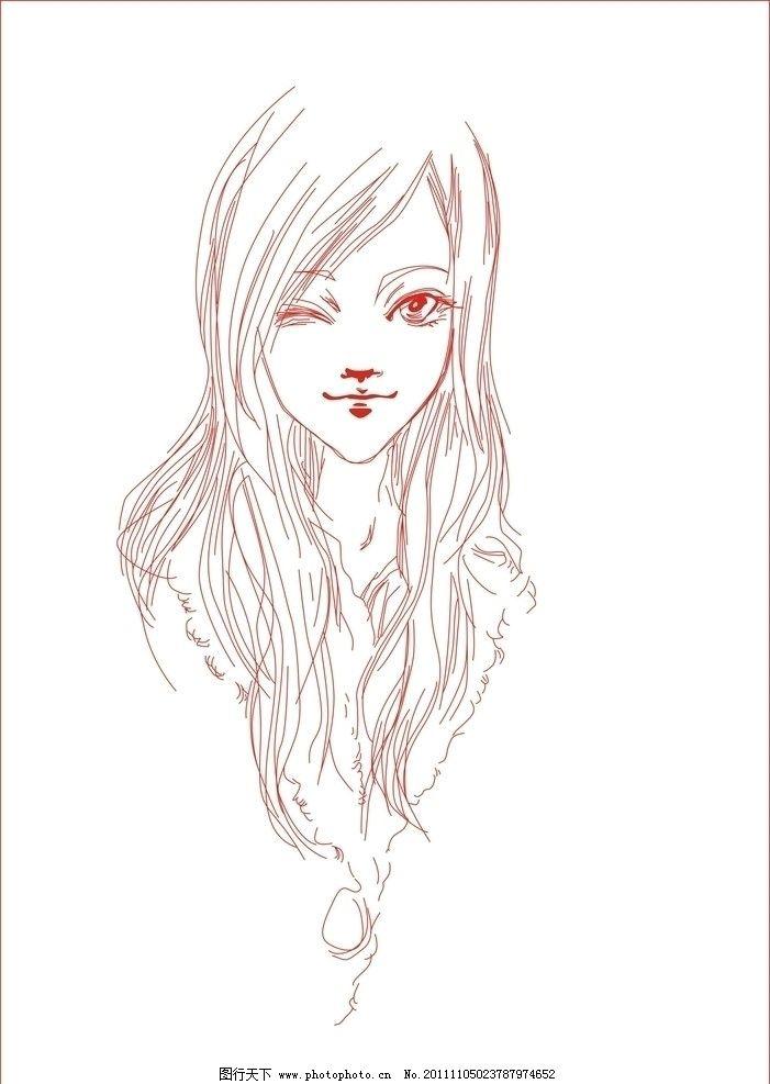 手绘笔美女背影
