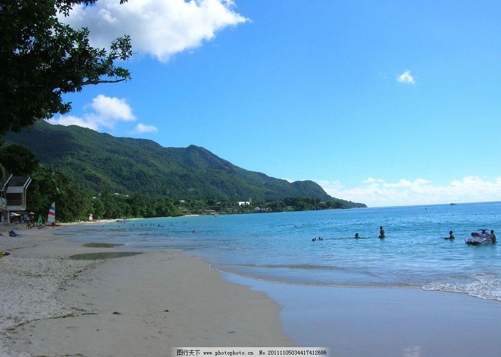 陽光海灘 碧海藍天 沙灘 大海 美麗 白云 山水風景 自然景觀 攝影 bmp