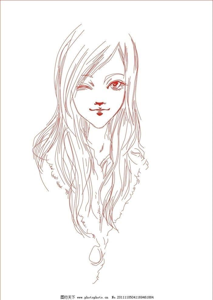 美女 手绘美女手绘 线条 线条美女 女 女性 线条女性 手绘女性 素描