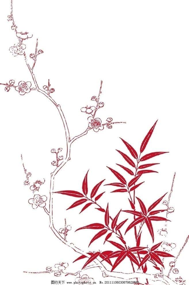 花枝 梅花 树枝 简笔画 服装印花 树叶 冬梅 矢量