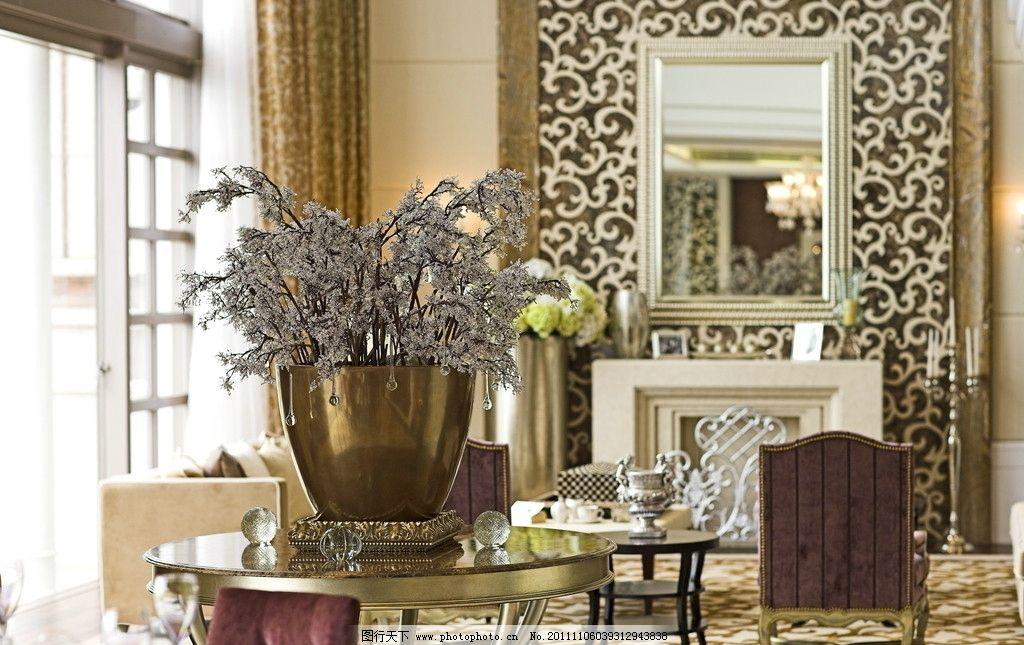 室内摆件 装饰花 装饰镜 休闲沙发凳 欧式背景墙 室内摄影 建筑园林