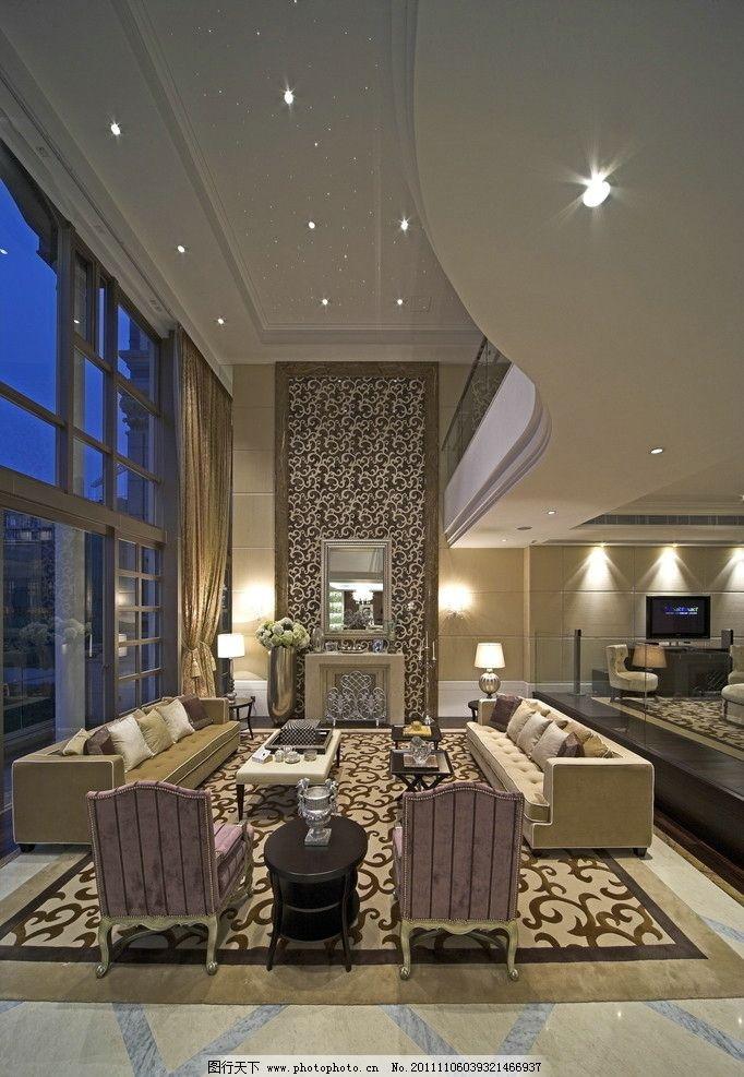 豪华复式会客厅 会客厅 白色沙发 沙发凳 欧式花纹地毯 落地窗 室内