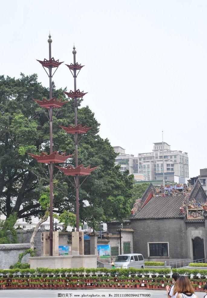 特色建筑 陈家祠 雕刻 岭南 古代建筑 广东 广州 走廊 柱子