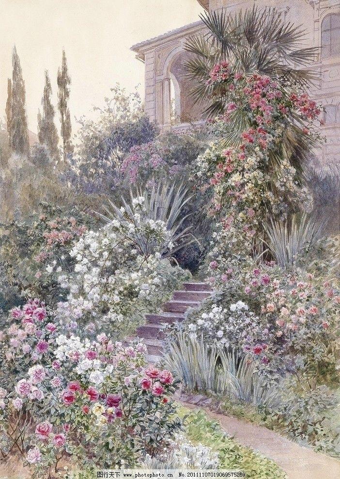 水彩建筑插画 水彩 建筑 风景 插画 18至19世纪 欧式 花盆 花园 台阶