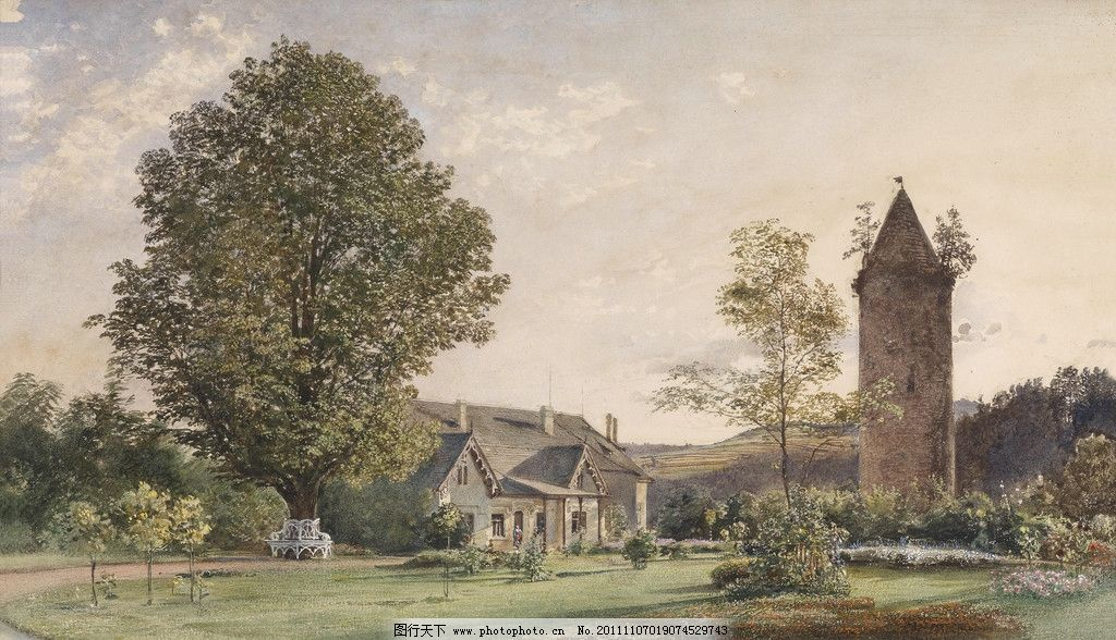 插画 18至19世纪 欧式 庭院 屋顶 手绘 漫画 欧洲 复古 烟囱 水彩建筑