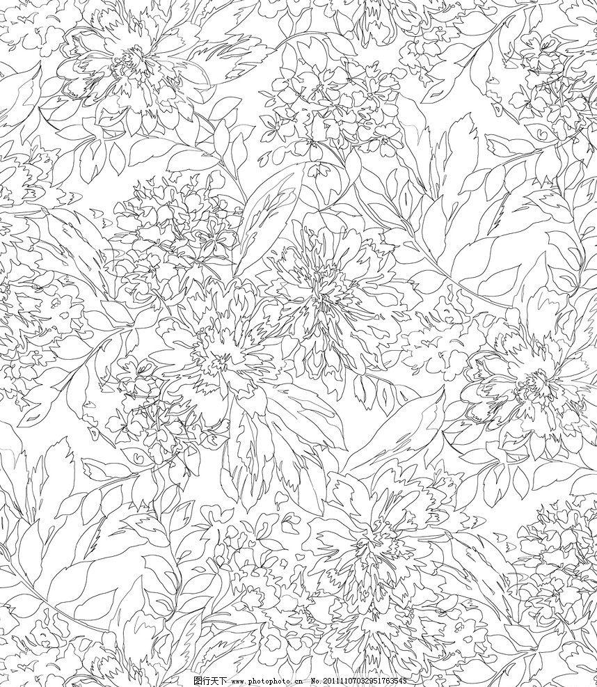 手绘 手绘花卉 白描花朵 花线描 花 草 叶 花园 黑白 重复 背景素材