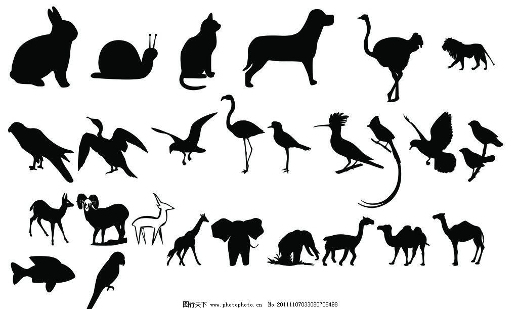 黑白剪影动物图片