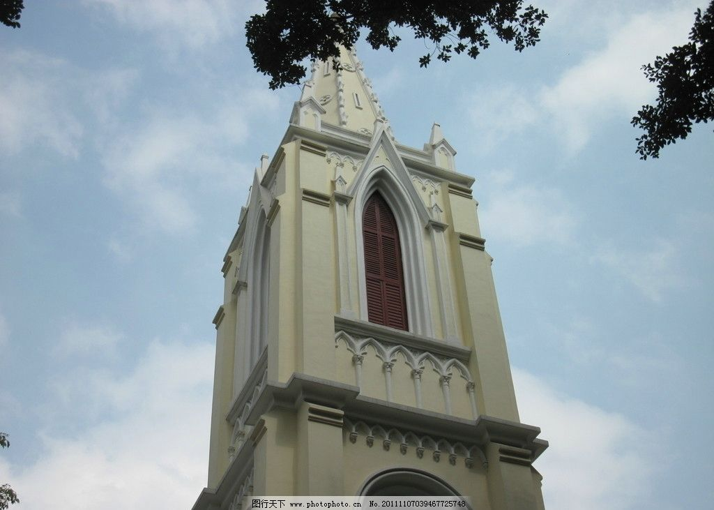 广州沙面教堂尖顶 沙面 教堂 欧式建筑 建筑摄影 建筑园林 摄影 180