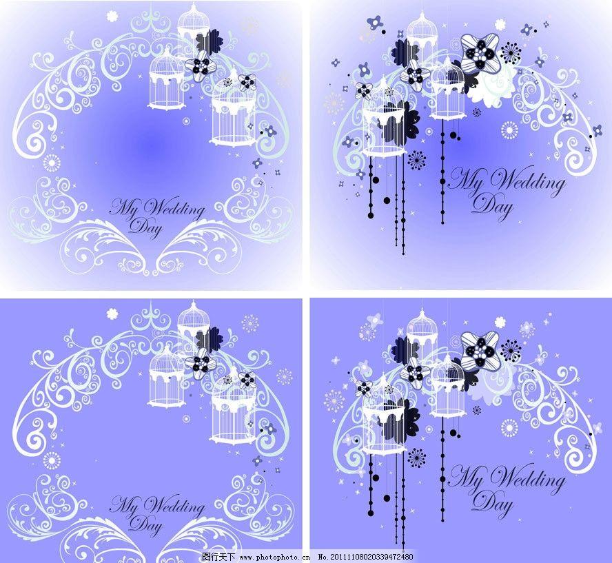 欧式花纹鸟类婚纱婚礼背景 欧式 古典 蓝色 线条 花纹 花边 边框 鸟类