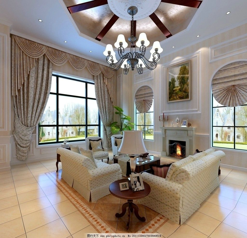大厅效果图 欧式风格 吊灯 壁画 窗帘 沙发 台灯 室内设计 环境设计