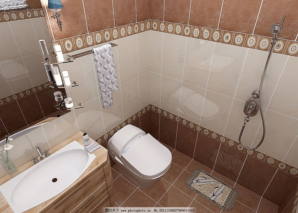 卫生间效果图        毛巾 马桶 浴霸 水池 室内设计 环境设计 设计