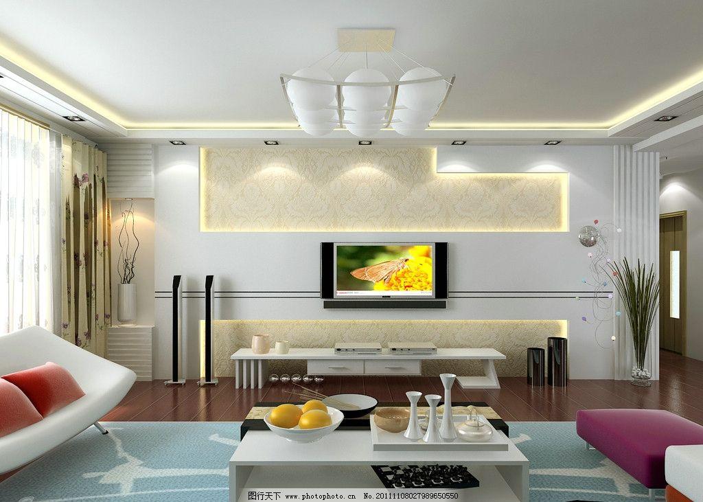 客廳效果圖 背景墻 電視 吊燈 沙發 茶幾 室內設計 環境設計 設計 300