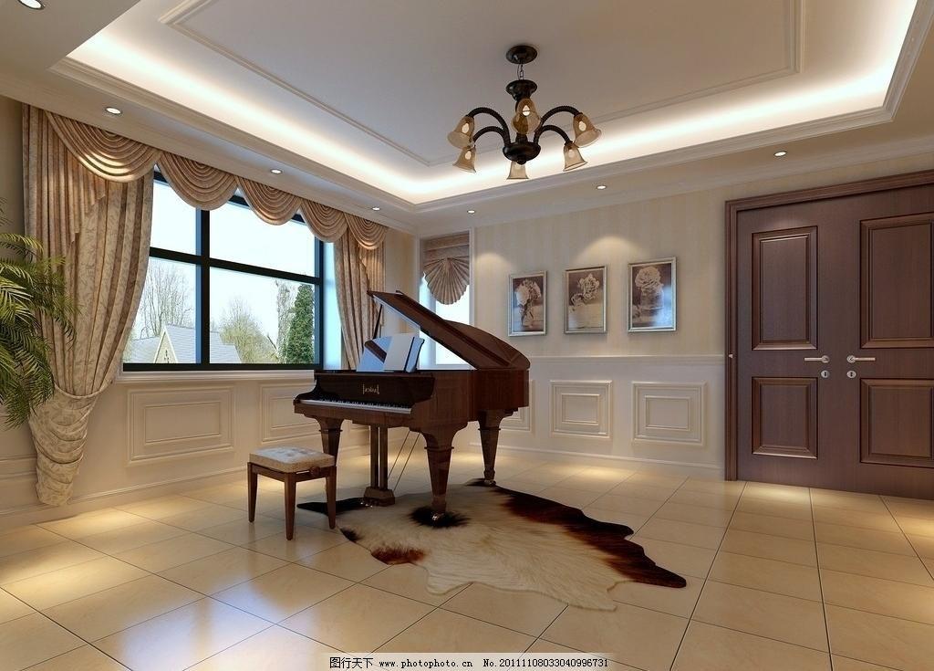 练琴室 练琴室图片免费下载 壁画 窗帘 吊灯 钢琴 欧式风格 室内设计