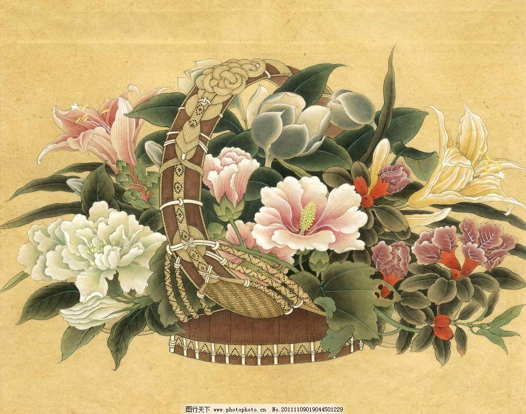 花篮 工笔画 花篮图 中国工笔画 花鸟画 牡丹 百合 植物 国画
