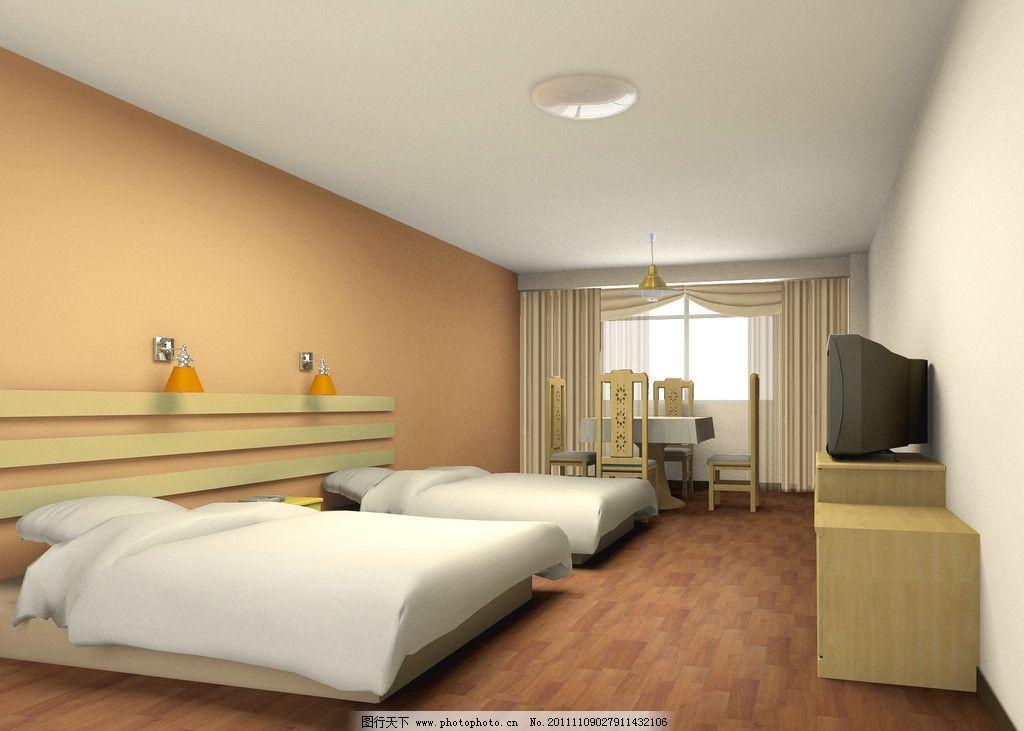 酒店客房装修 吊灯 床 双人床 电视 凳子 桌子 室内设计 环境设计