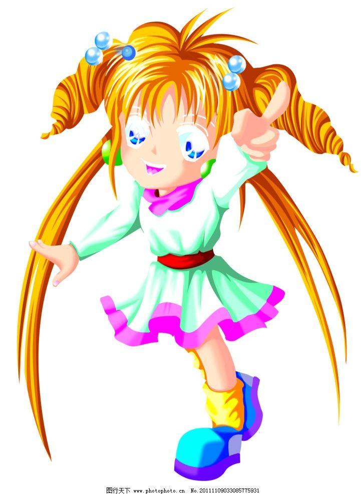 卡通小人 卡通 人物 小女孩 卡通图案 psd分层素材 源文件 300dpi psd