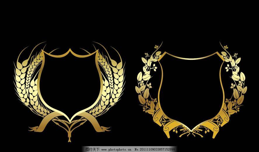 金色盾牌麦穗树叶矢量图片