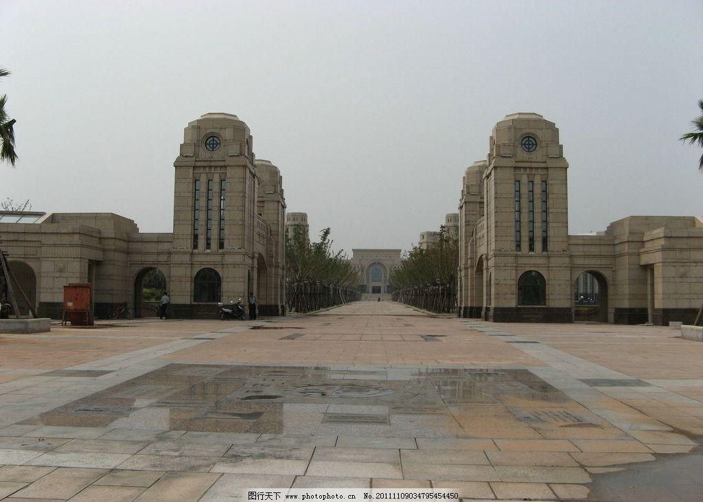复旦大学 江湾新校 大门 学校正门 欧式风格 钢筋水泥建筑 对称型建筑